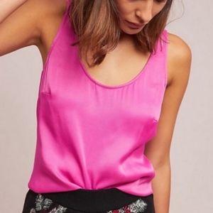 Floreat Anthropologie Pink Sleeveless Silk Top